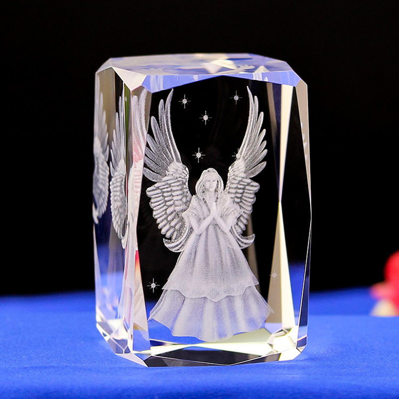 Angel LASER ENGRAVED CRYSTAL night Light  Angel Shape crystal Led Light with Color Changing Light  Baby Safe sleep light gifts