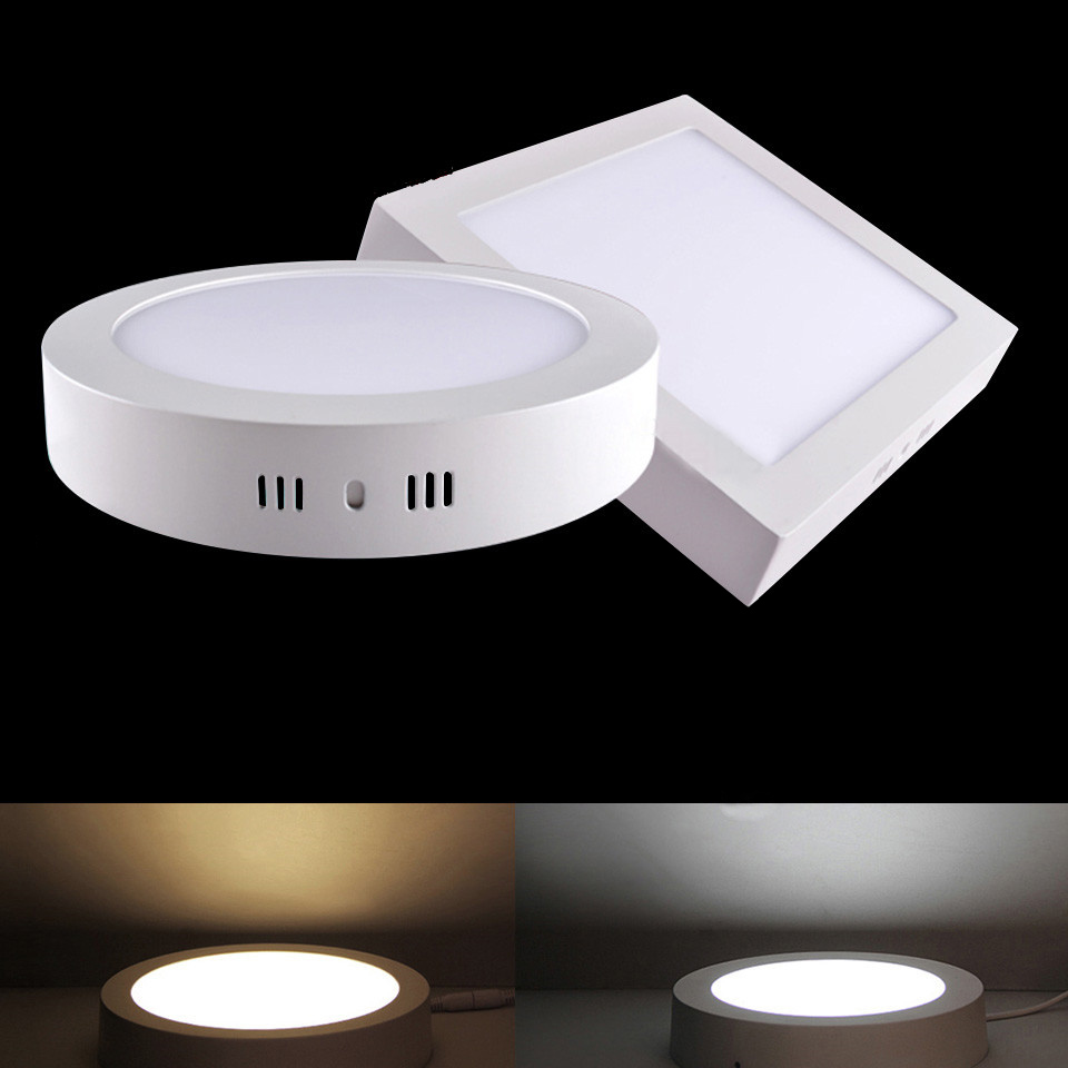10pcs/lot LED Panel Light 6W 12W 18W Surface Mounted LED Ceiling Lights AC90-265V Round Square LED Downlight