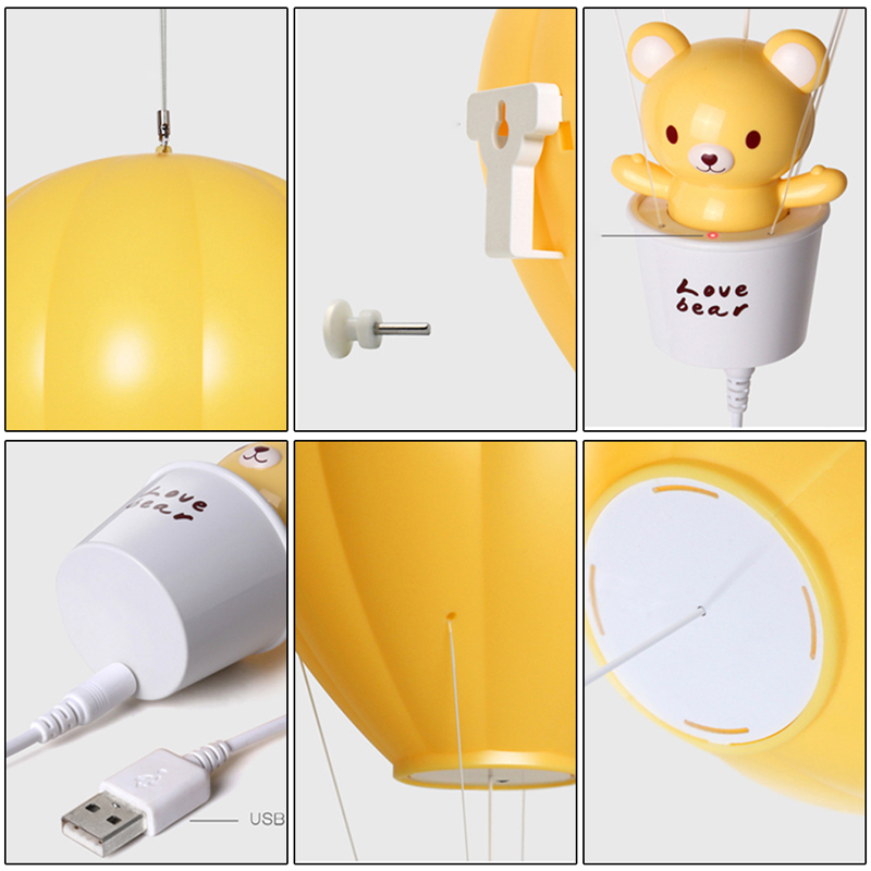 BORUIT Brand Top Dimmable Hot Air Balloon LED Night Light Children Baby Nursery Lamp With Touch Switch USB Rechargeable WallLamp