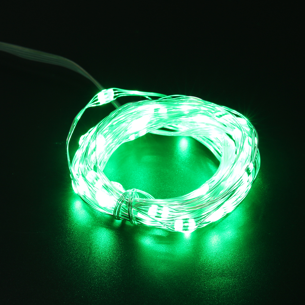 5M Silver LED Copper Wire 50LED String Fairy Lights USB Rechargeable For Xmas Party Decoration With 24 Keys IR Remote Controller