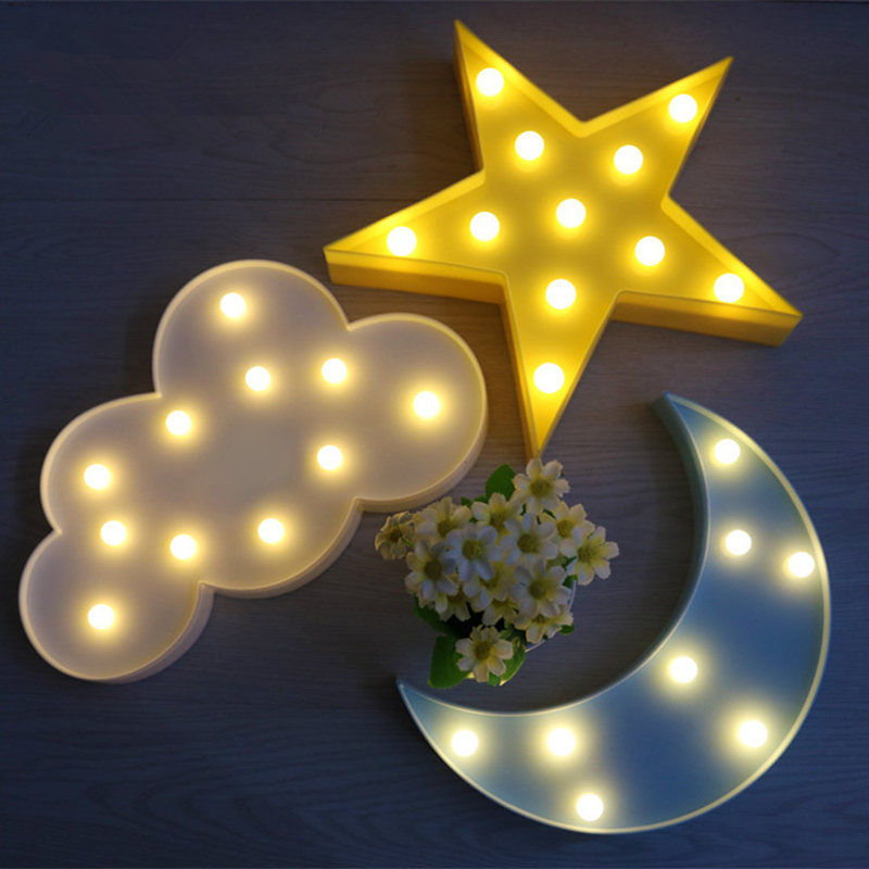 3D LED Night Light Table Lamp Christmas Tree Star Cloud Pineapple Flamingo Cartoon Cactus Children's Night Lamp Romantic Battery