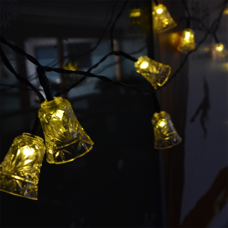 4.8M 20LEDs Jingle Bell Solar LED Lamps Outdoor Waterproof Solar Power Fairy String Lights For Garden Christmas Party Decoration