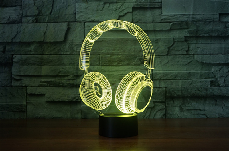 Headset shape Acrylic 3D Night Light LED Stereo Vision 3D lights 7 Colors Changing USB Bedroom Night light Desk lamp AS Gift