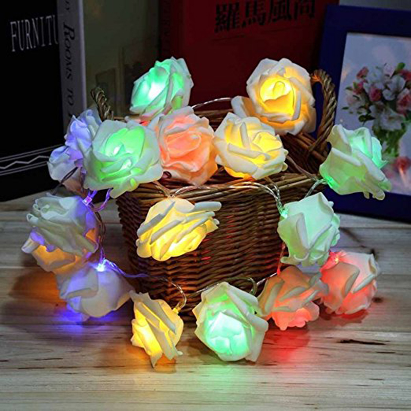 String Lights Romantic Fashion Holiday String Lights Rose Flower Fairy Wedding Christmas Lights Indoor Outdoor Decorative Lights