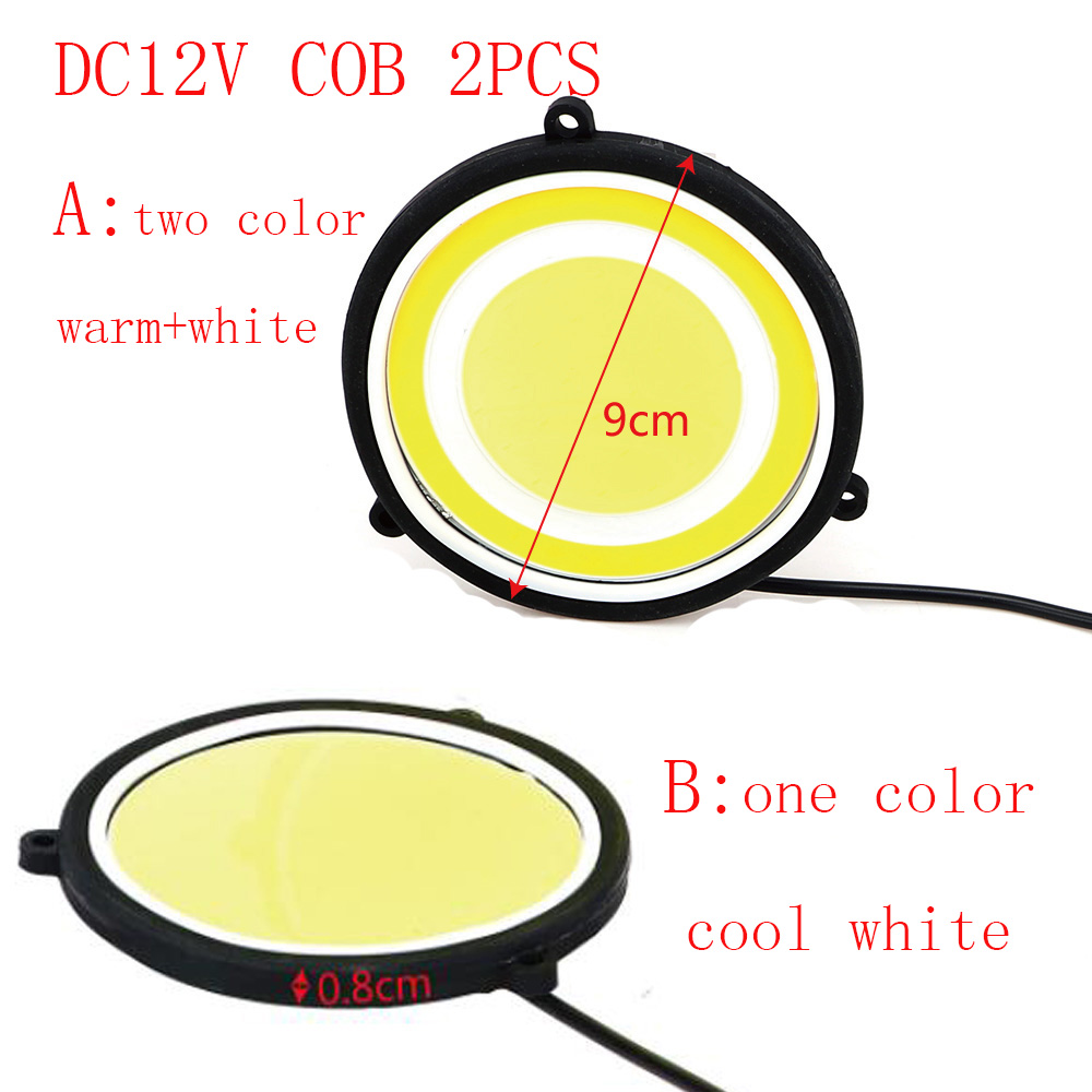 2PCS car styling 90mm Round COB LED white/warm white  Amber Daytime Running Light Turn Signal Driving Fog Lights Source DC12V