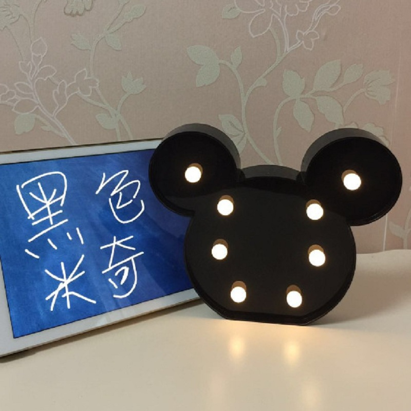 3D LED Night Light Mickey Night Lamp Romantic Lamp Marquee Home Christmas Battery LED Nightlight Letter For Decor IY301103-20