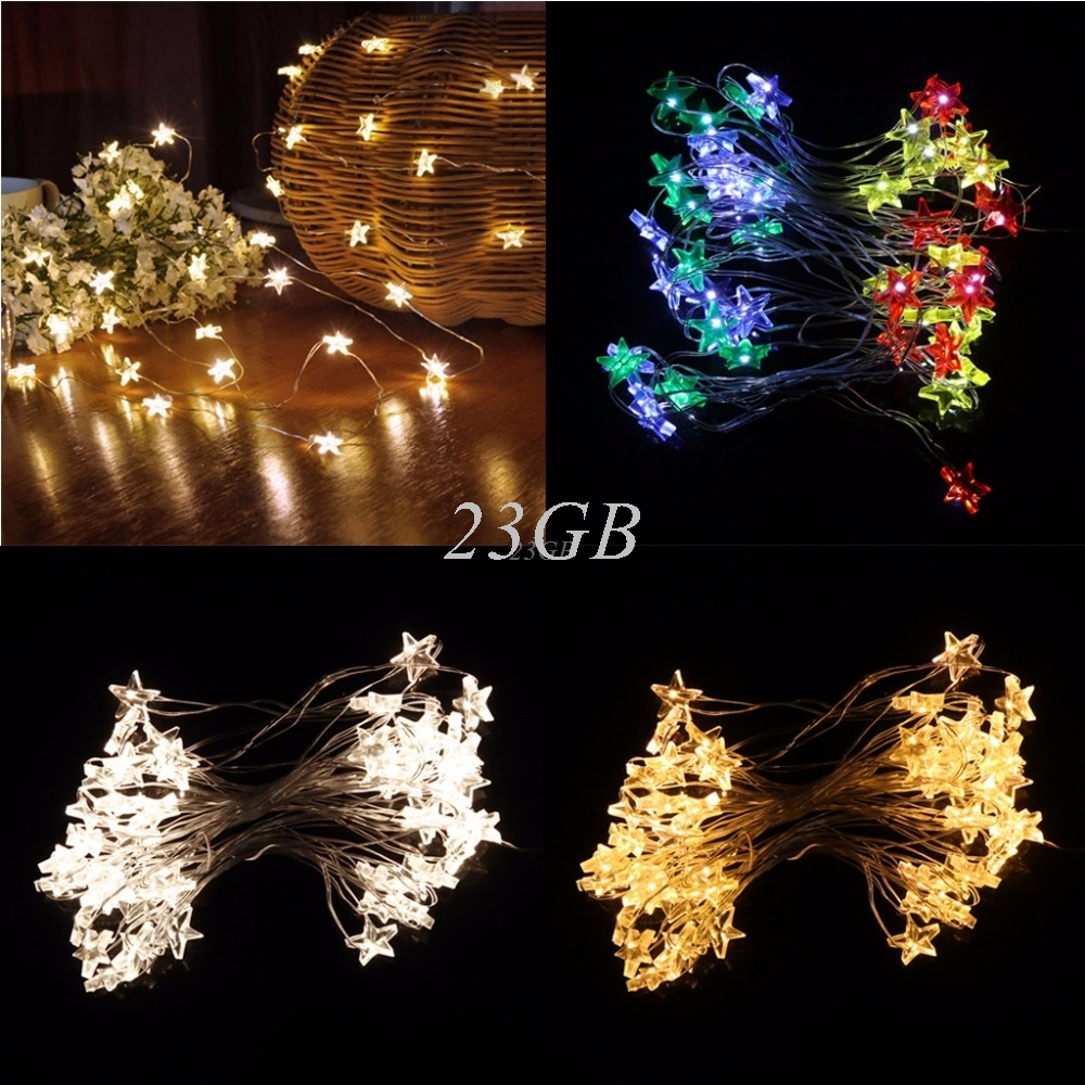 3/5m 30/50LED Waterproof Stars Copper Wire Fairy String Lights Battery Operated Xmas Wedding Decor A11_15