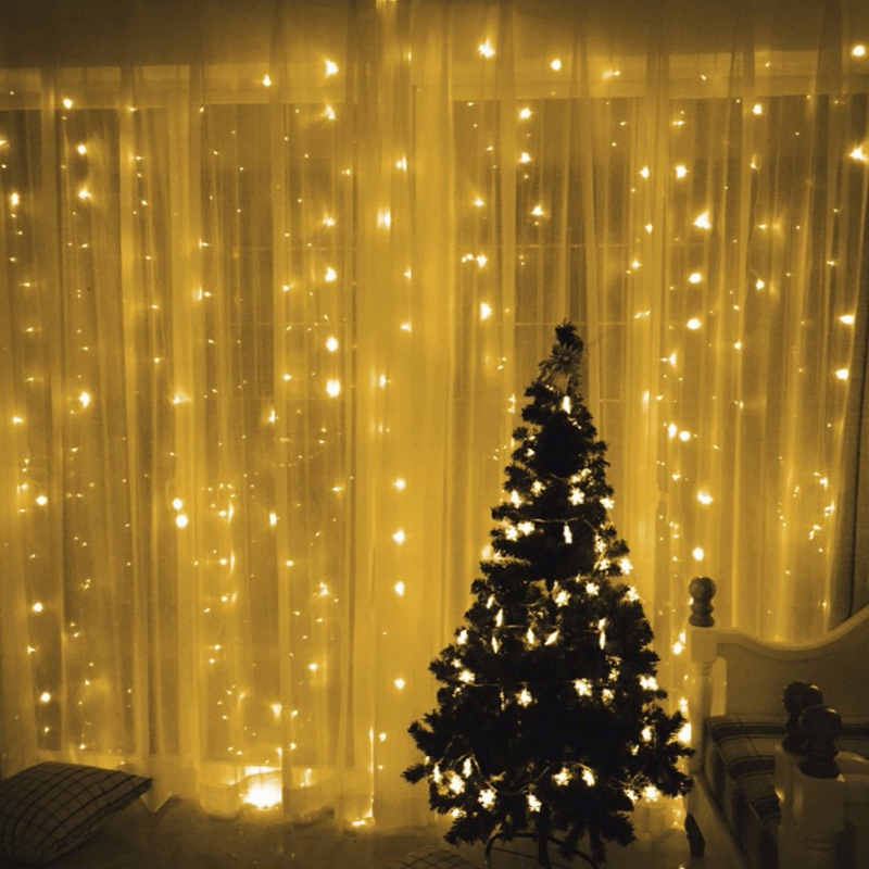 6x3m 600 LED Indoor Outdoor Curtain Fairy String Light Garlands Xmas Wedding Party US Plug/EU Plug