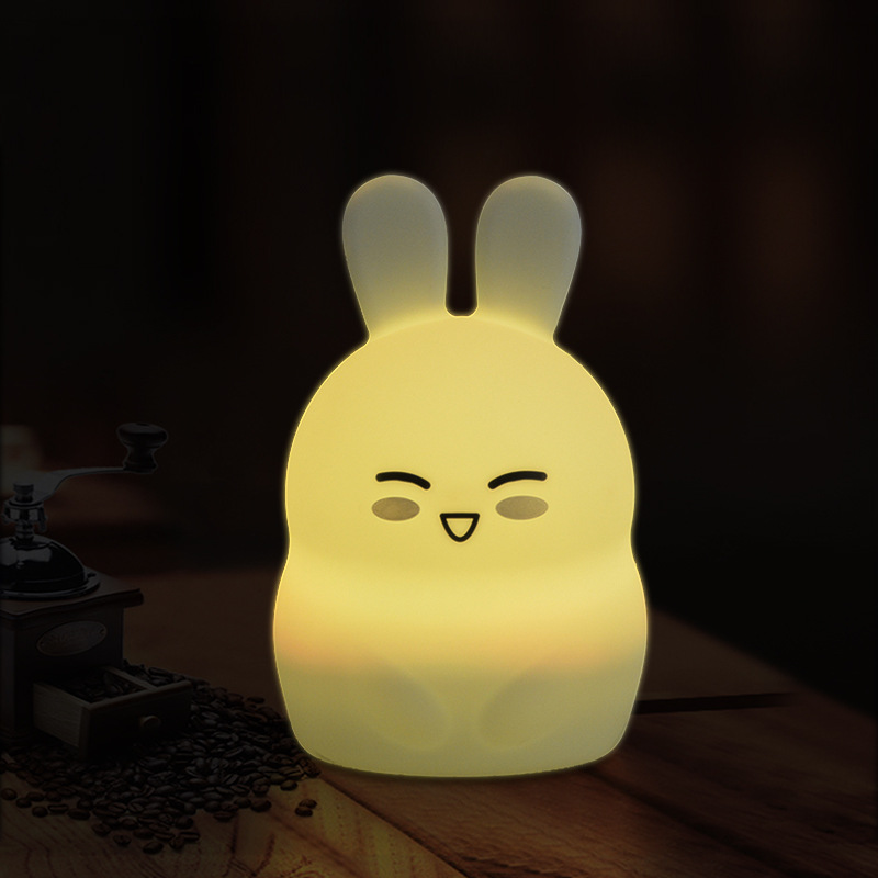 Cute Girls Boys Gift Rabbit Silicone LED Night Light Rechargeable Touch Sensor light Children Cute Night Lamp Bedroom Light