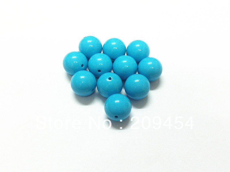 Wholesale !  20mm 105pcs/lot light Blue/Sky Blue  Chunky Gumball Bubblegum Acrylic Solid Beads For Necklace Making