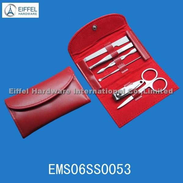 Hot sale 6pcs Nail Care Kit in red folding pouch(EMS06SS0053)