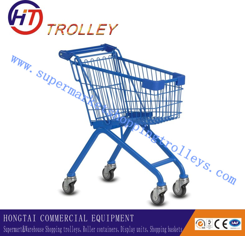 Funny and Colourful Metal Children Shopping Trolley With Plastic Car