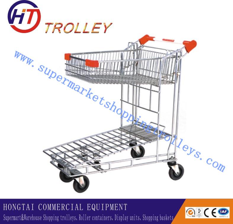 Powder Coated 2 Tier Supermarket Hand Trolley Cargo Trolley