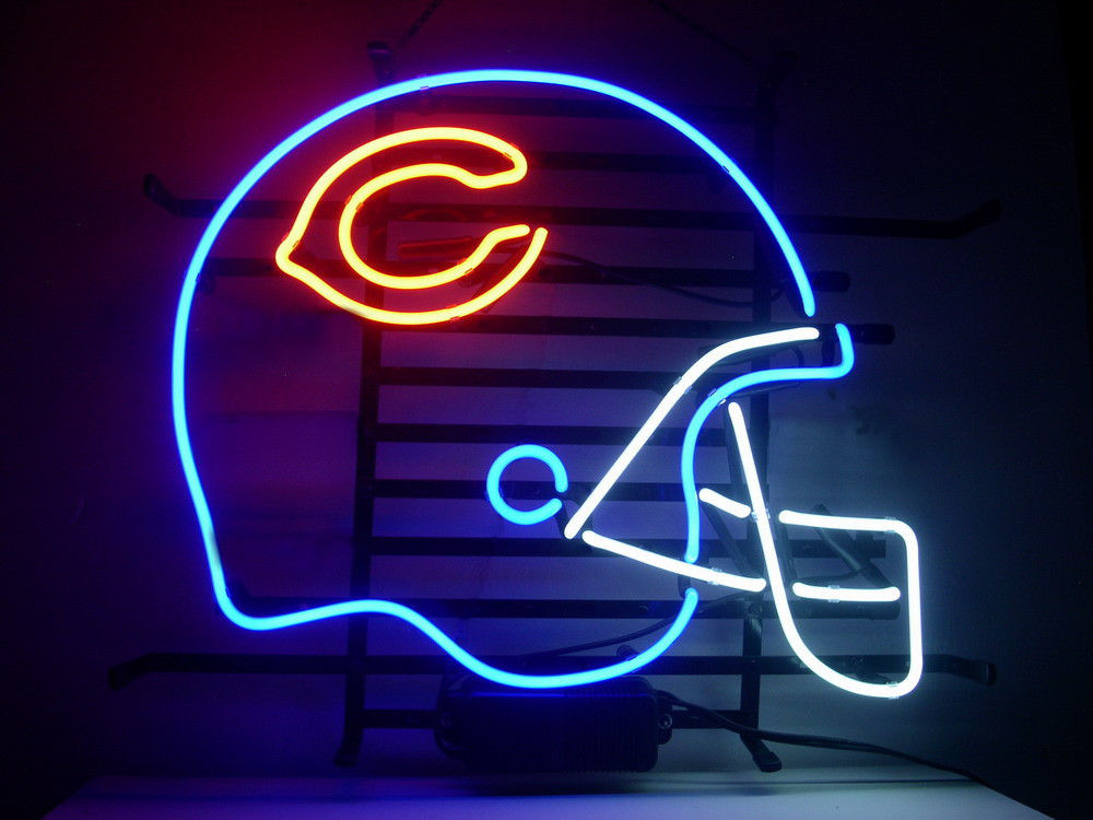 New T422 CHICAGO BEARS handicrafted real glass tube neon