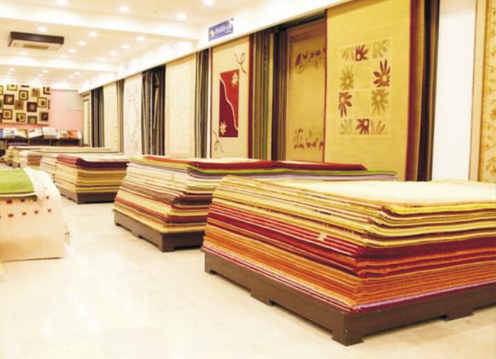 Showroom Material Carpet Display Rack Stand Exhibition Shelf