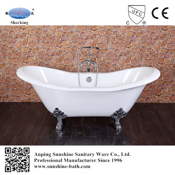 double slipper pedestal cast iron soaking bathtub for 2 pers