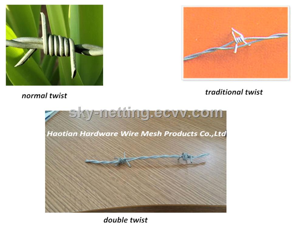 Bright Hot GalvanizedElectro Galvanized Barbed Wire Two Main Wires