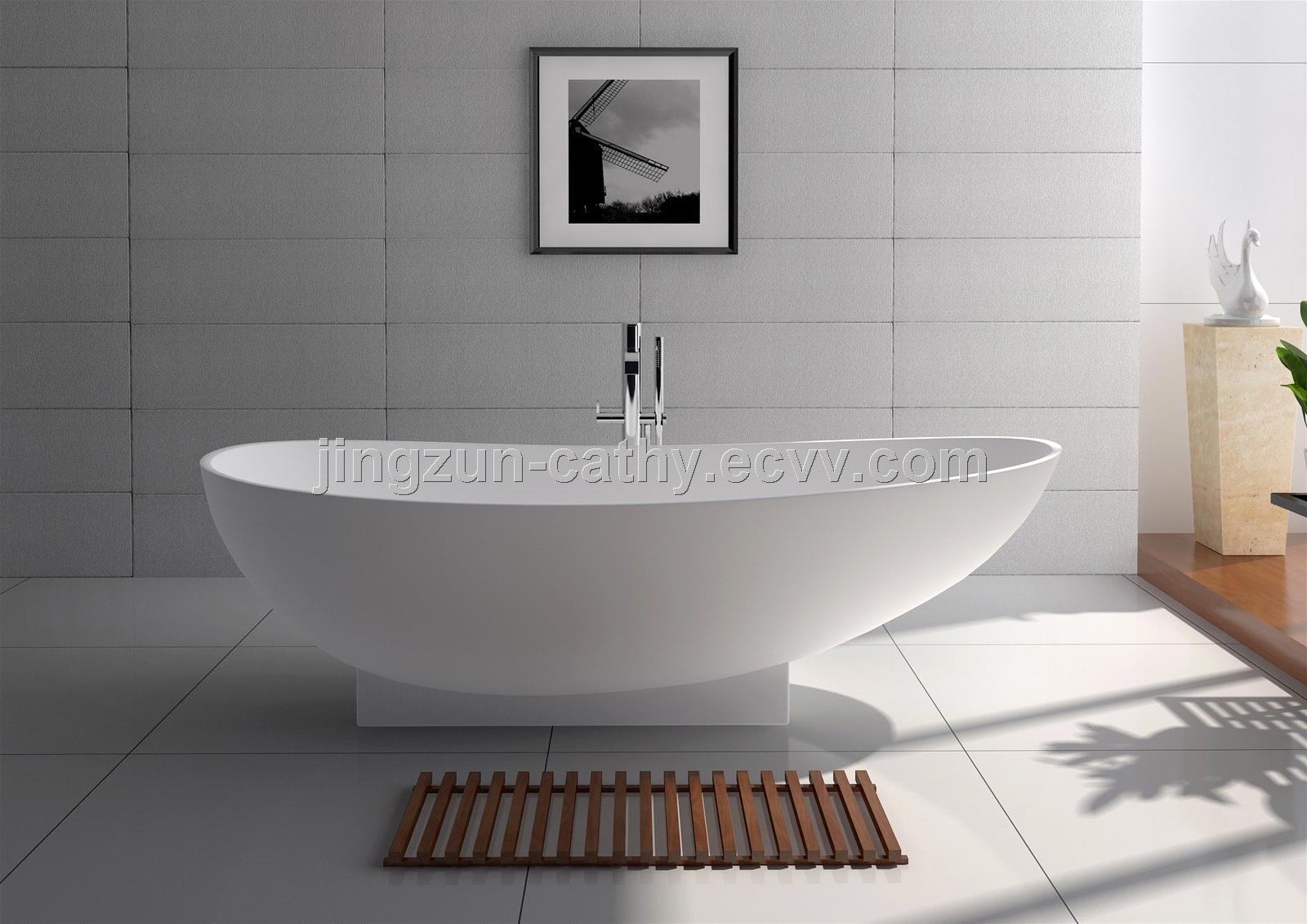 Classical Freestanding Artificial Stone Bathroom Mineral Bathtub/ solid surface bathtub -JZ8604