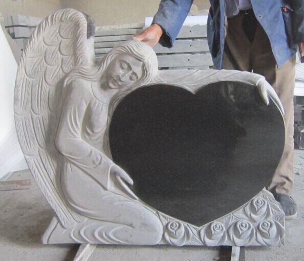 Granite Angel Heart : Angel heart black granite monument tombstone purchasing