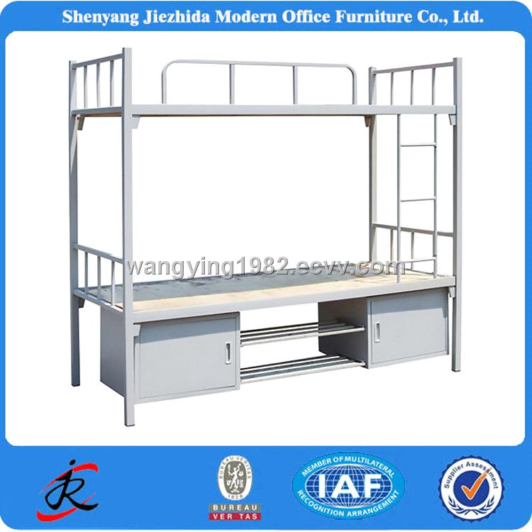 Bedroom Furniture Adult Heavy Duty Hostels Army School Metal Steel Bunk Bed With Lockers