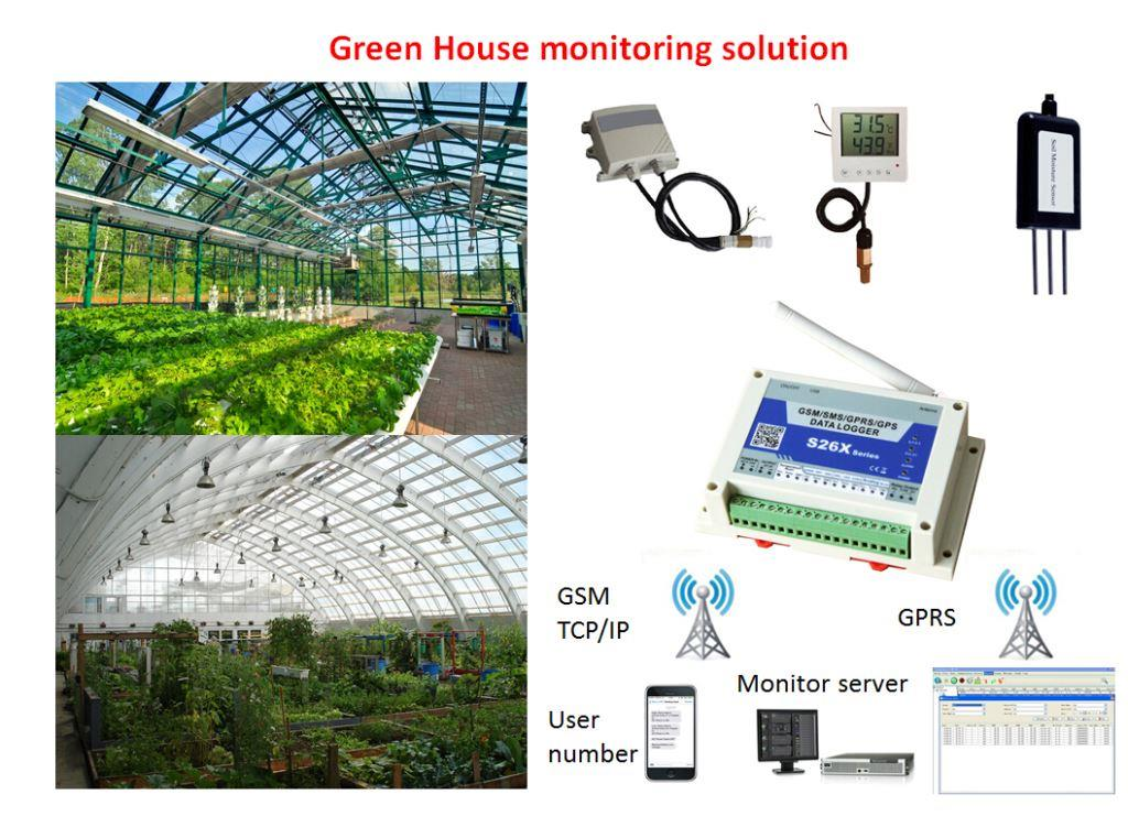 Green House Monitoring Soil Moisture Monitor Temperature