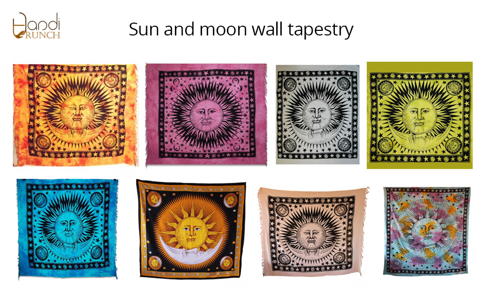 Indian Sun and Moon wall hanging tapestry (TWT0031) - India Tapestry ...