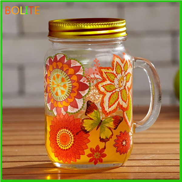 400 ml Glass mason jar with handle and screw cap and decal