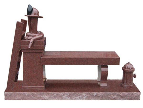 Red Benches Granite Headstone For Grave Cemetery From