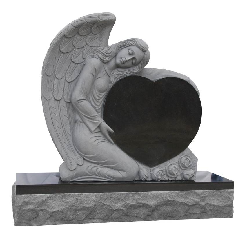 Granite Angel Heart : American style black granite angel with heart monument