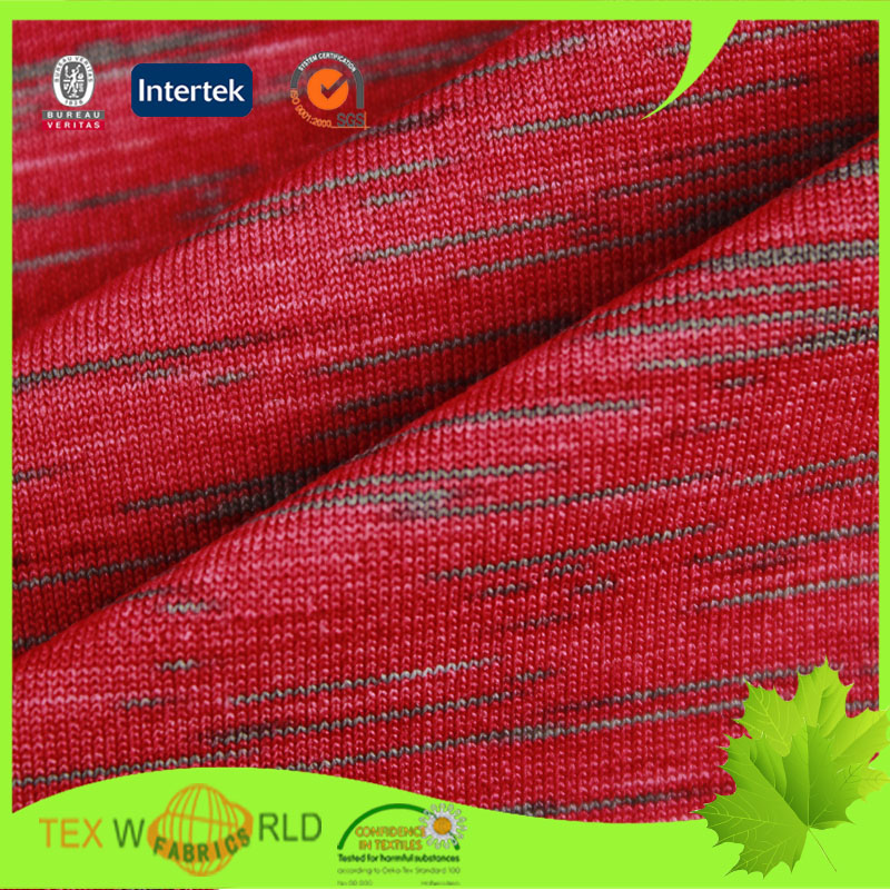 Stretch knitting space dyed sportwear single jersey fabric for Space dye knit fabric by the yard