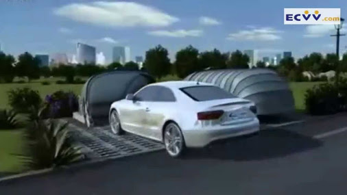 Solar powered car retractable garage china car garage for Garage energy automobiles