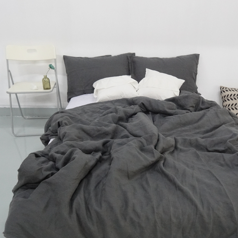 Charcoal Dark Grey Stone Washed Linen Duvet Cover Set