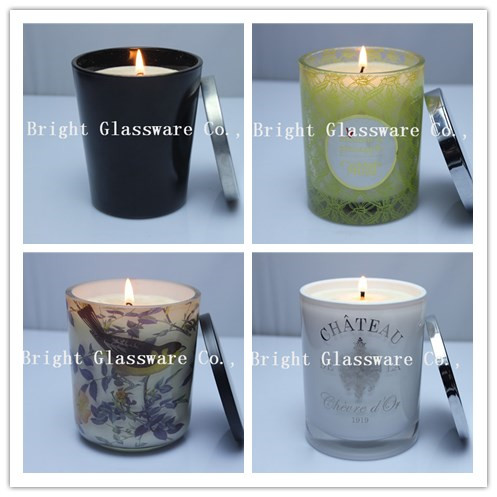 hot sale glass candle container, candle jar with metal lid