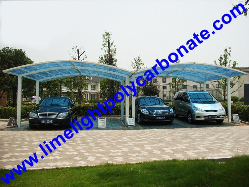 aluminium carport with white frame and blue polycarbonate ...