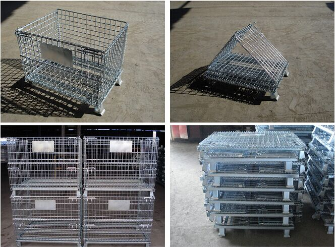 Supermarketstackingfoldablesecurestoragemetalcagewithwheels