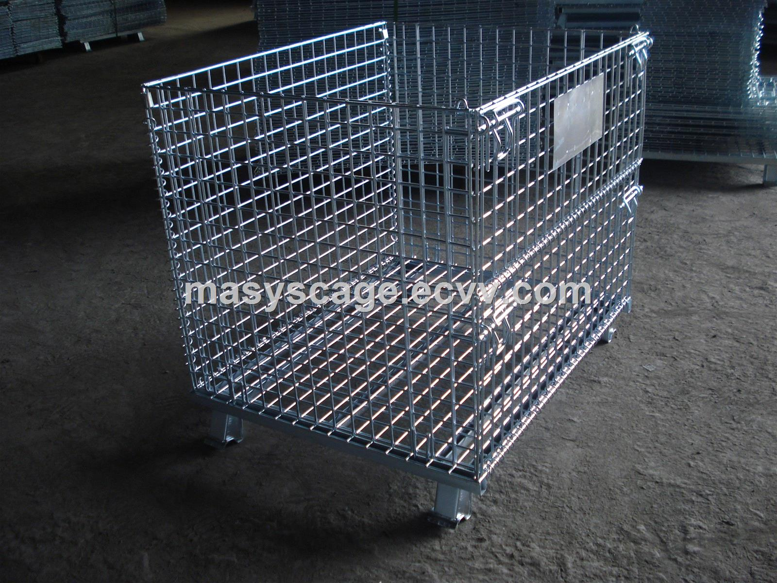 Foldable metal storage cage wire mesh container with