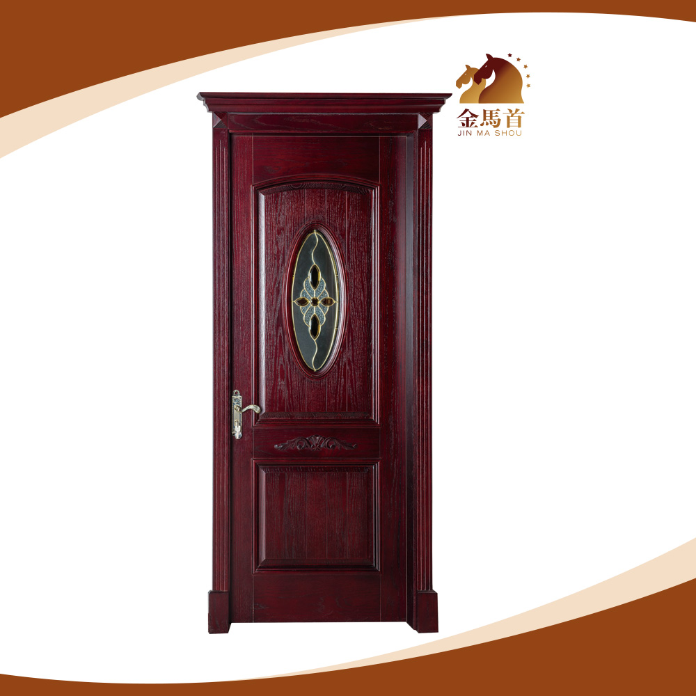 Single interior carving glass insert solid wood door - Solid wood interior doors with glass ...