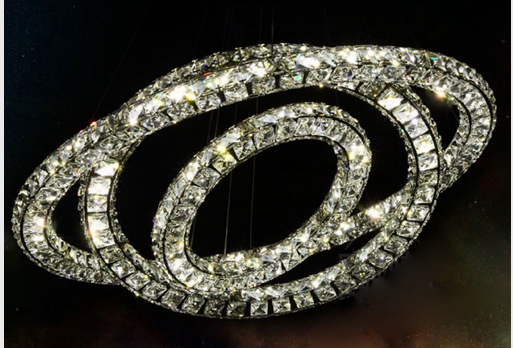 Hot LED ring chandelier 3 sides K9 crystal chandelier