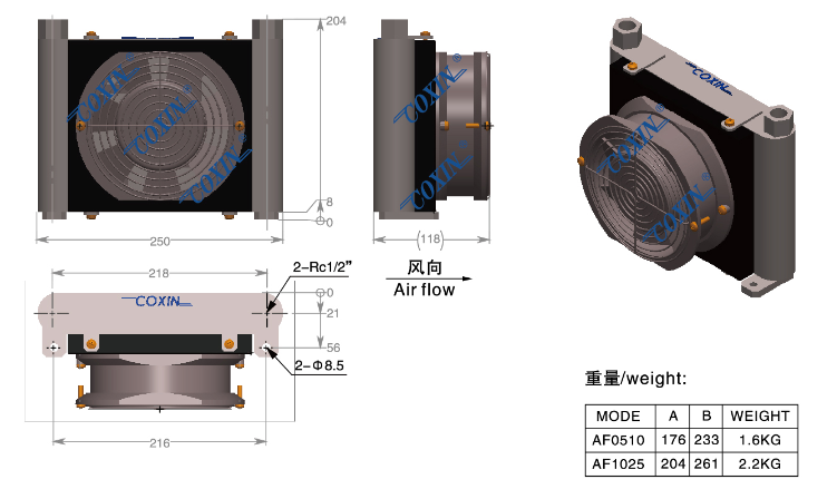 Oil Coolers For Hydraulic Systems : Hydraulic oil cooler af for system