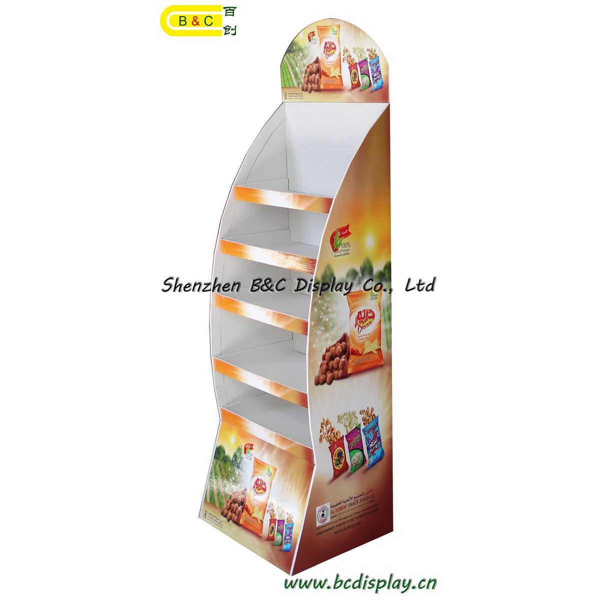 Hot selling special shape floor display with 5 layers for chips(B&C-A030)