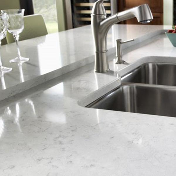 Marble like kitchen quartz countertop for europe market for Quartz kitchen platform