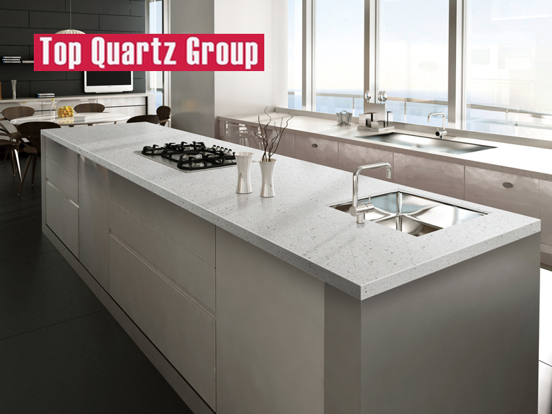 Medium Grained Quartz Stone Kitchen Island Tops