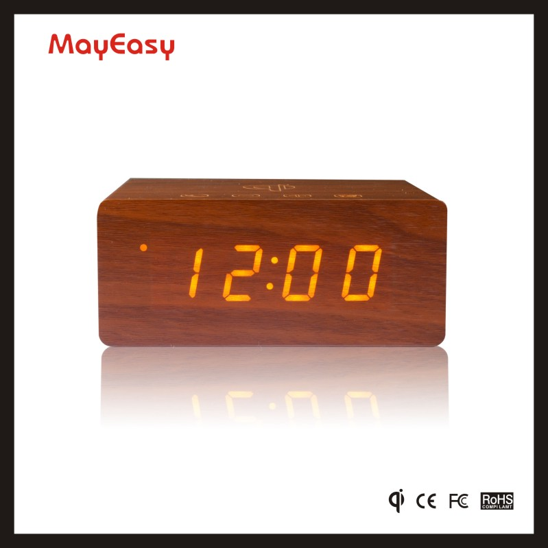 Trending Hot Products 2017 Wooden LED Digital Display Alarm Clock with Speaker Box & Qi Charging