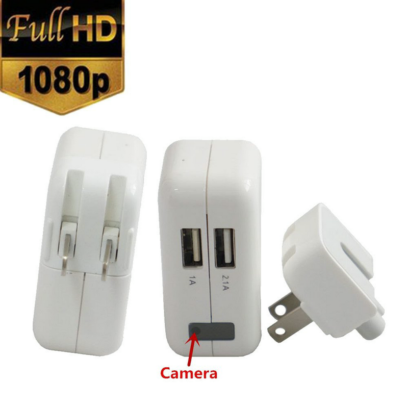 HD 1080P Mini AC Adapter Charger Spy Hidden Pinhole Camera Home CCTV Surveillance DVR USEUUK Plug