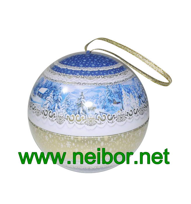 Football Design Hanging Tin Ball Tin Bauble With Ribbon