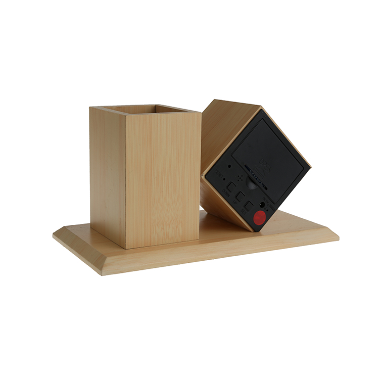 Promotion wooden smart clock with a pen container