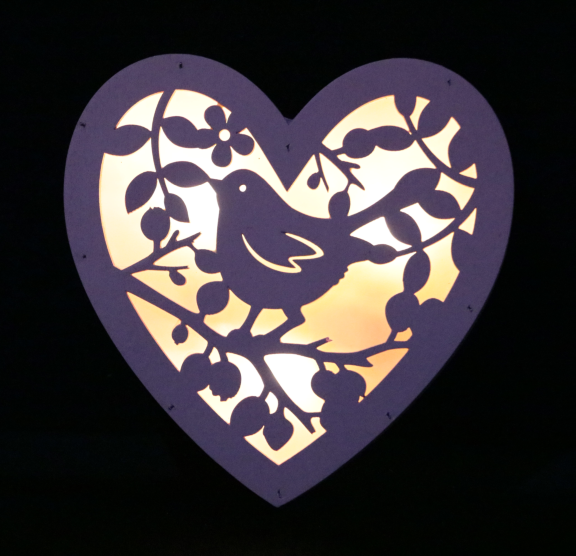Engrave Customized Bird & Laurel Heart Wooden Light Box Party Home Decoration