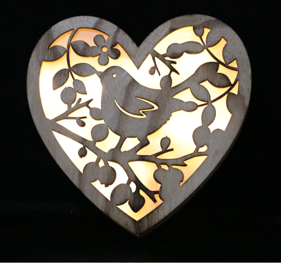 engrave customized bird and laurel heart wooden light box party home decoration