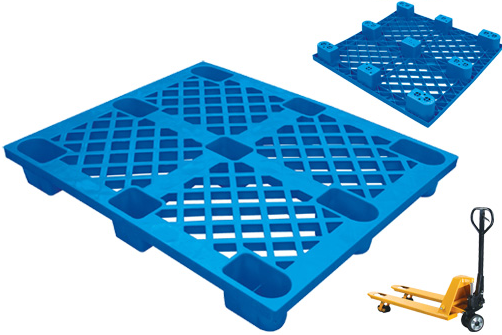 EU Standards 1200*1000*140mm HDPE Plastic Pallet Nine Feet 4-Way Sigle Side Plastic Tray (YX-1210A)