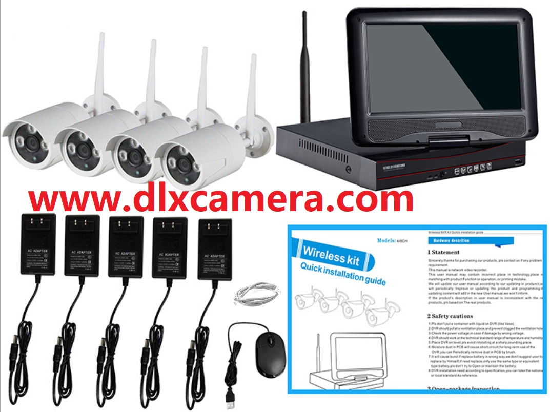 1080P HD 4ch Plug & Play 10 Inch LCD Screen Wireless NVR Kit CCTV System WiFi IP Camera Outdoor IR Security Camera